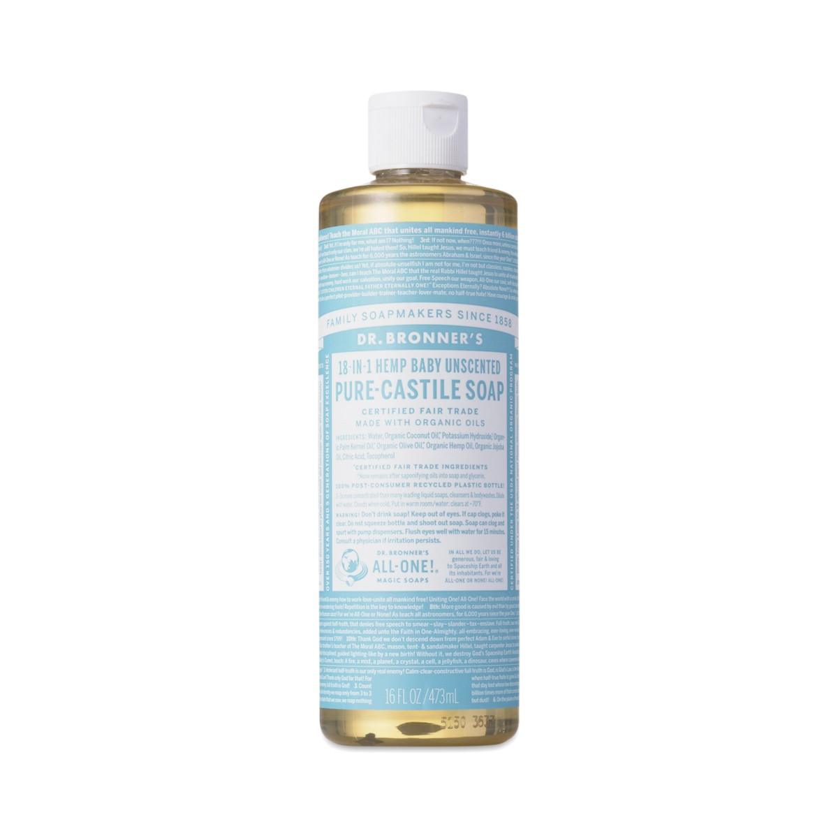 Unscented Baby Castile Liquid Soap By Dr Bronner S