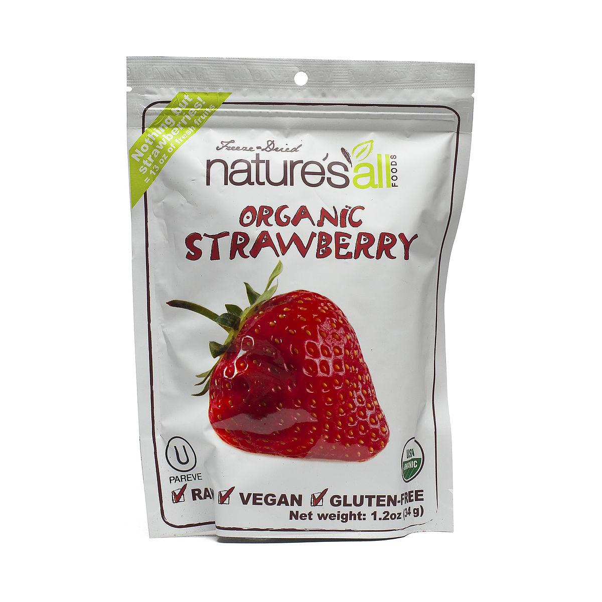 Organic dried strawberries