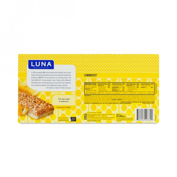 15 Pack Lemon Zest Luna Bar By Clif Bars Thrive Market