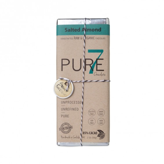 Pure 7 SALTED ALMOND CHOCOLATE BAR - 85% CACAO