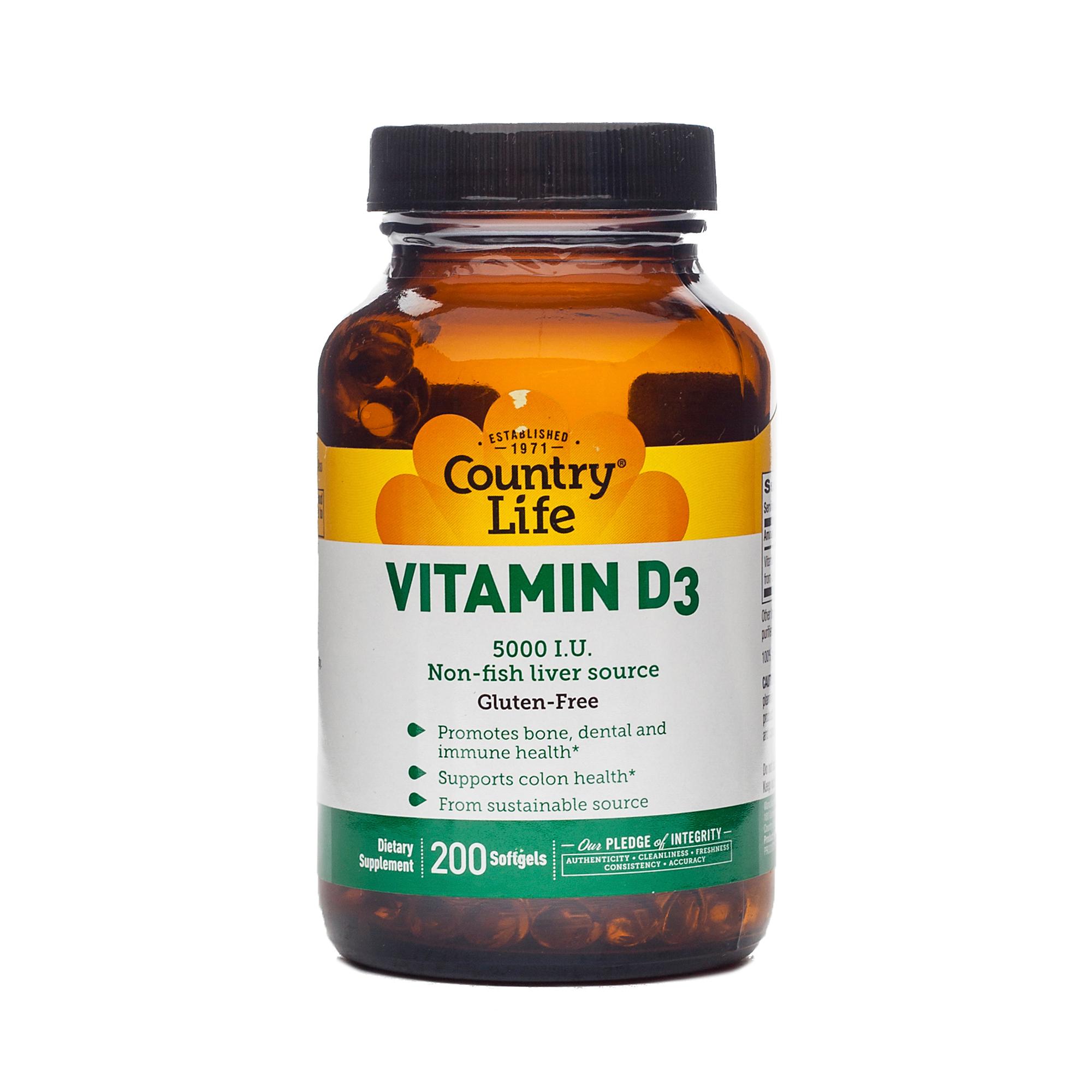 Country Life Vitamin D3 5000 IU Softgels 200 softgels per bottle