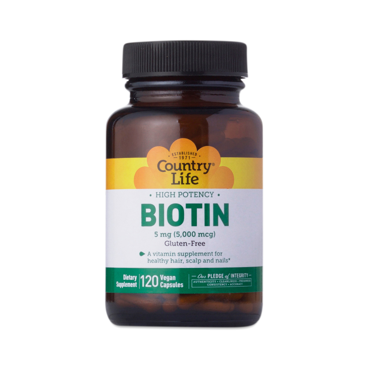 Country Life High Potency Biotin Vegetarian Capsules 120 vegan capsules