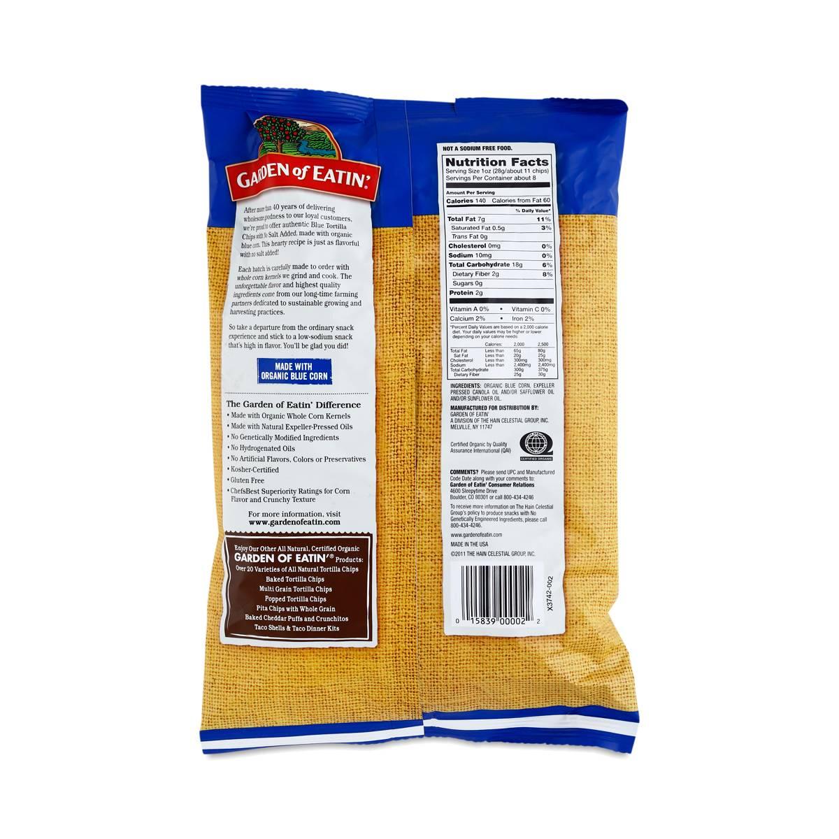 Unsalted Blue Corn Tortilla Chips by Garden of Eatin Thrive Market