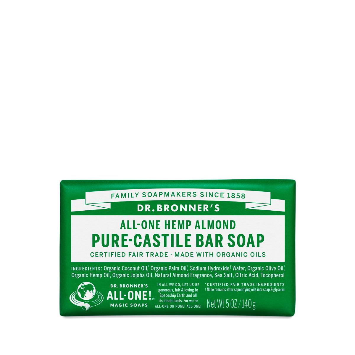 almond castile bar soap organic by dr bronner s   thrive