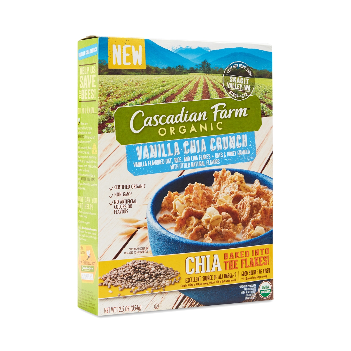 Organic Vanilla Chia Crunch Cereal By Cascadian Farms