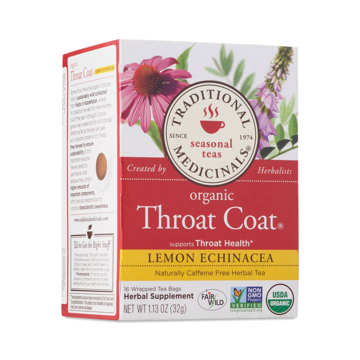 Traditional Medicinals Throat Coat® Lemon Echinacea Herbal Tea - Thrive Market