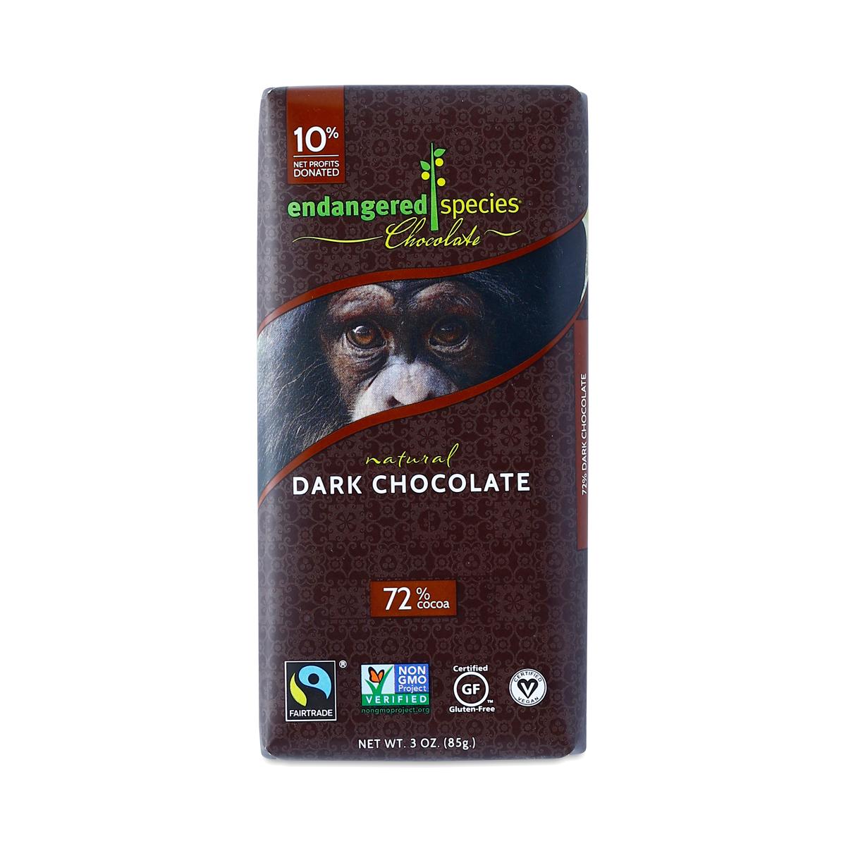 72% Dark Chocolate, Fair Trade by Endangered Species ...