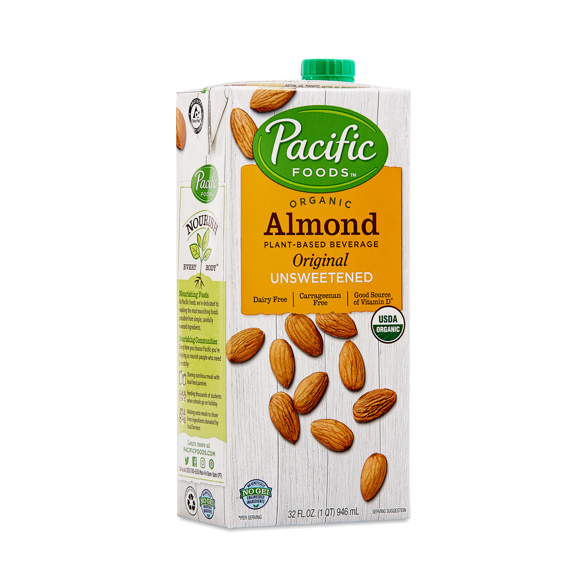 Pacific Foods Organic Almond Beverage, Unsweetened Original 32 fl oz carton