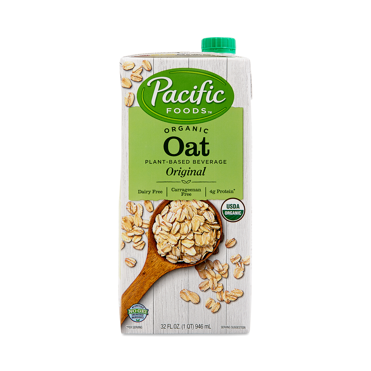 Pacific Foods Organic Oat Beverage, Original 32 oz carton