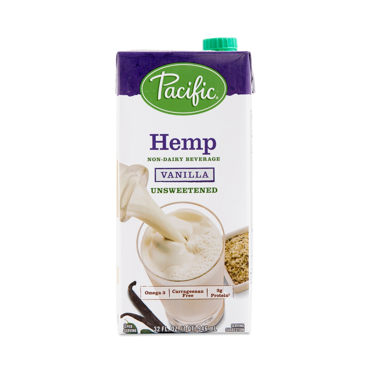 Pacific Foods Non-GMO Hemp Beverage, Unsweetened Vanilla 32 fl oz carton