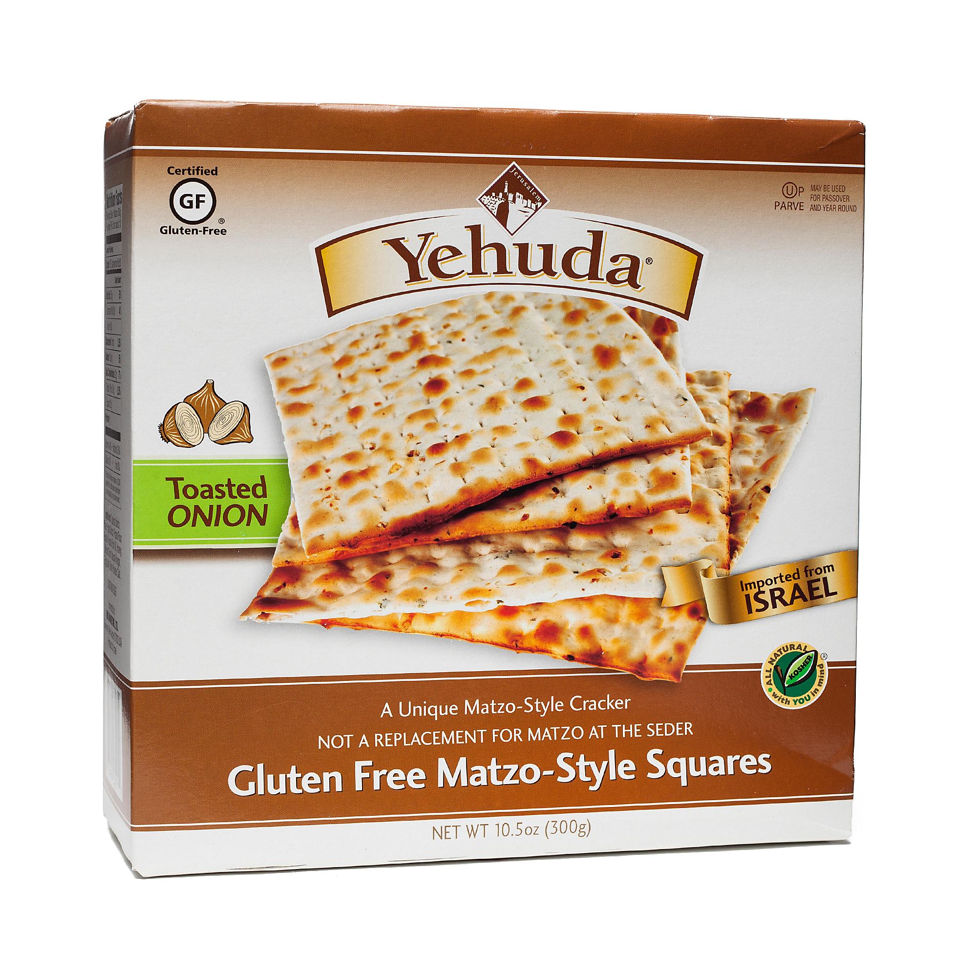 Yehuda Gluten-Free Matzo-Style Squares - Toasted Onion 10.5 oz box