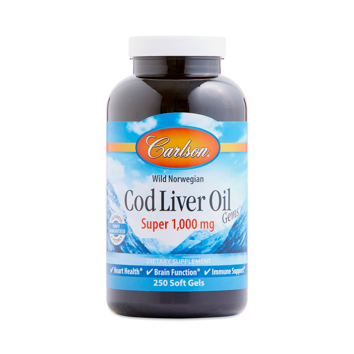 Carlson Labs Cod Liver Oil Gems Super 1000 mg 250 softgels