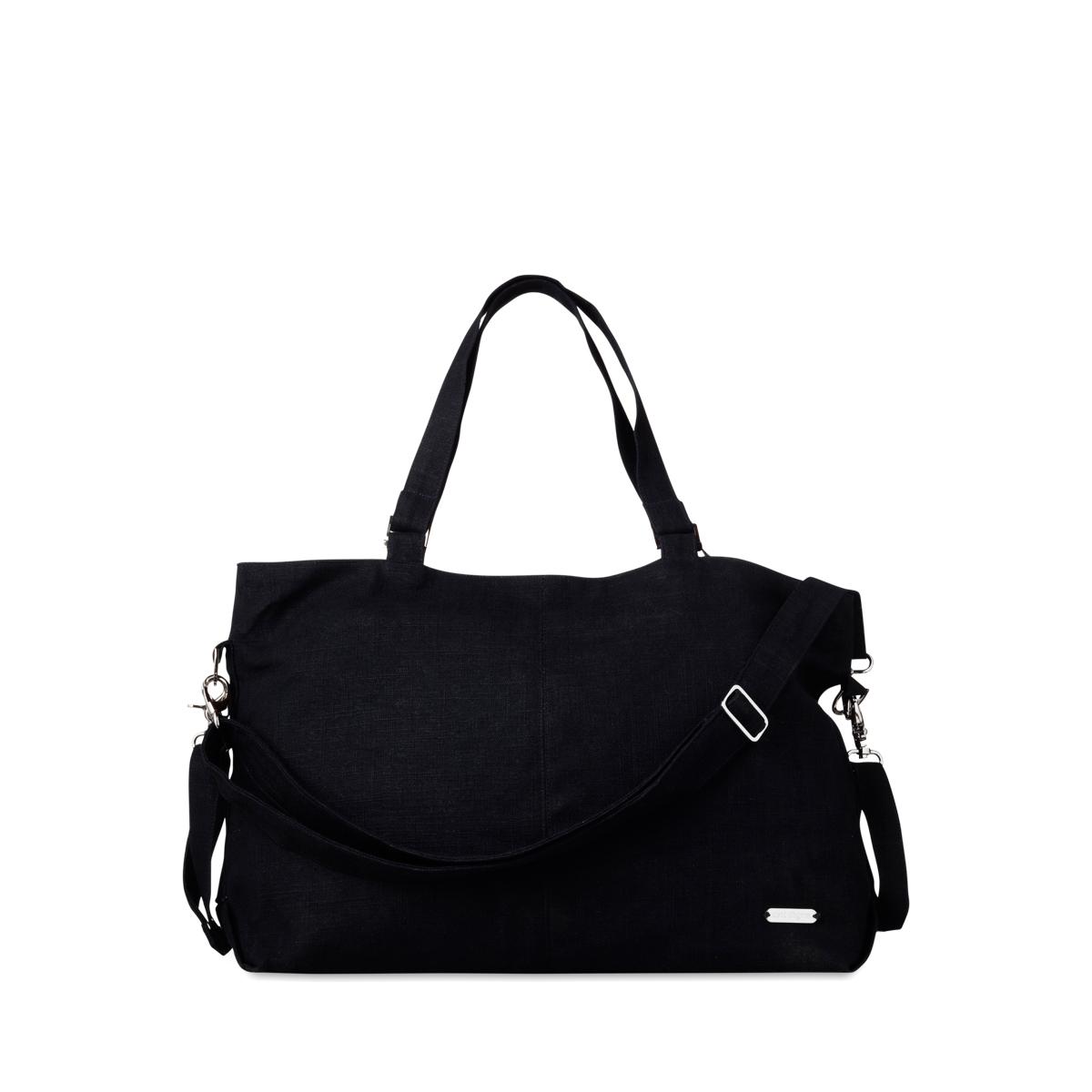 Linen Mom Carryall Bag, Black