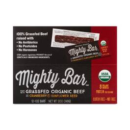 Organic Grassfed Beef Mighty Bar, Cranberry & Sunflower Seed
