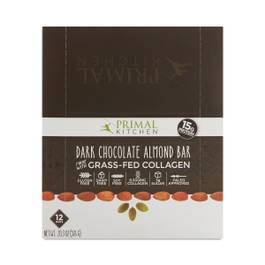 Dark Chocolate Almond Bar with Grass-Fed Collagen, 12-Pack