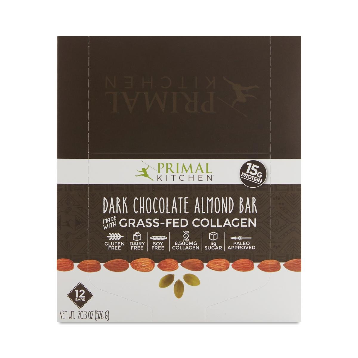 Genial Dark Chocolate Almond Bar With Grass Fed Collagen, 12 Pack. Thrive · Food · Primal  Kitchen