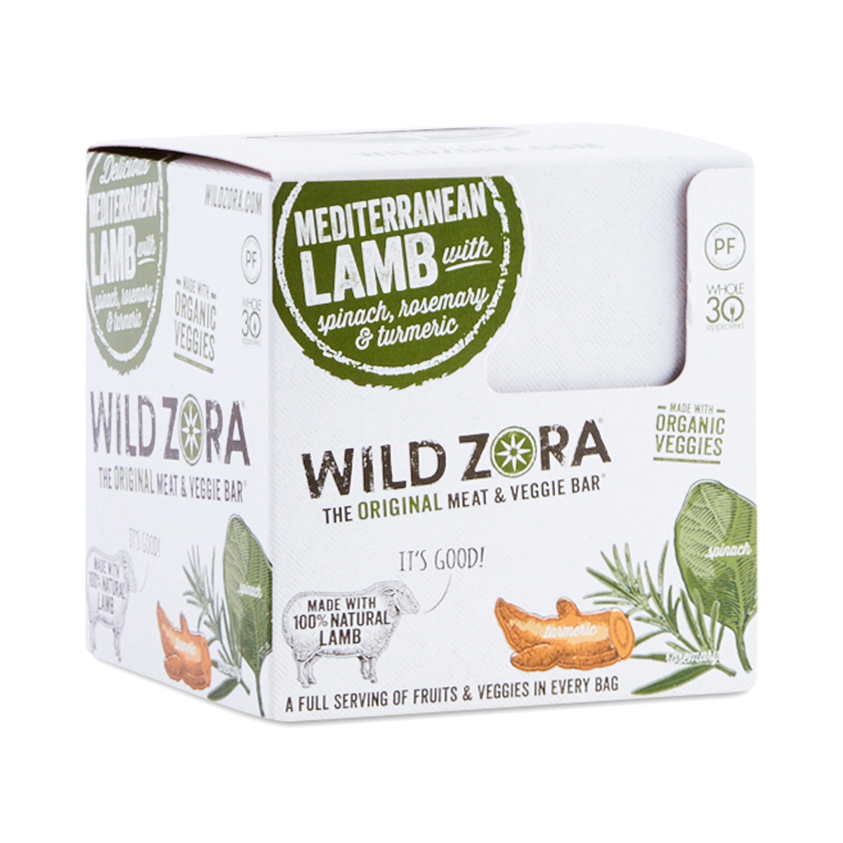 Wild Zora Meat & Veggie Bars, Mediterranean Lamb 10 bars (1.1 oz each)