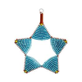 Glass Bead Star Ornament, Light Blue