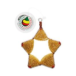 Glass Bead Star Ornament, Gold