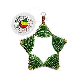 Glass Bead Star Ornament, Green