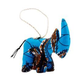Stuffed Rhino Ornament, Blue