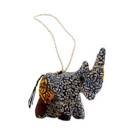 Stuffed Rhino Ornament, Beige