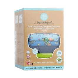 2-in-1 Reusable Diaper System with Inserts, Monkey Business