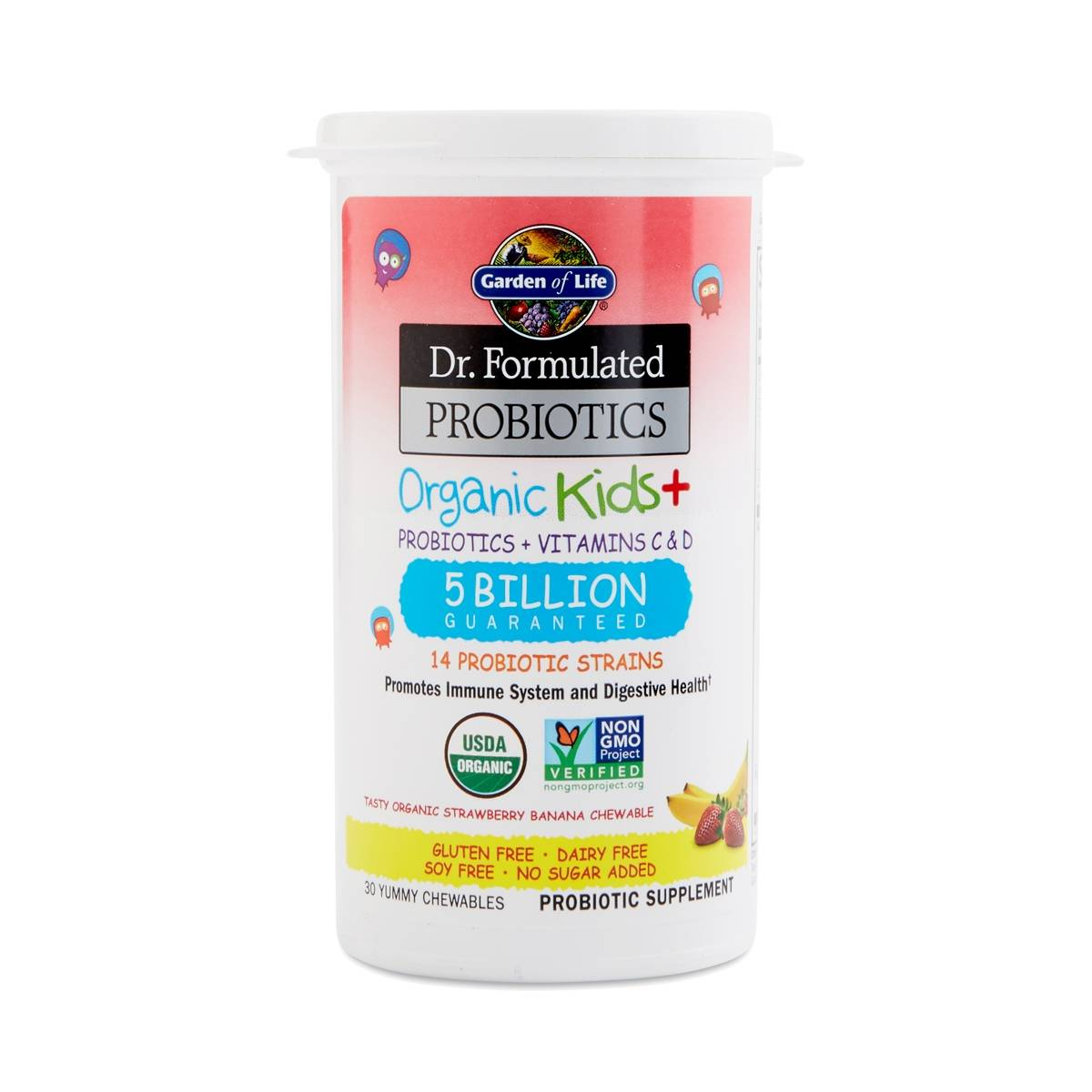 Strawberry Banana Dr Formulated Organic Kids Probiotics Thrive Market