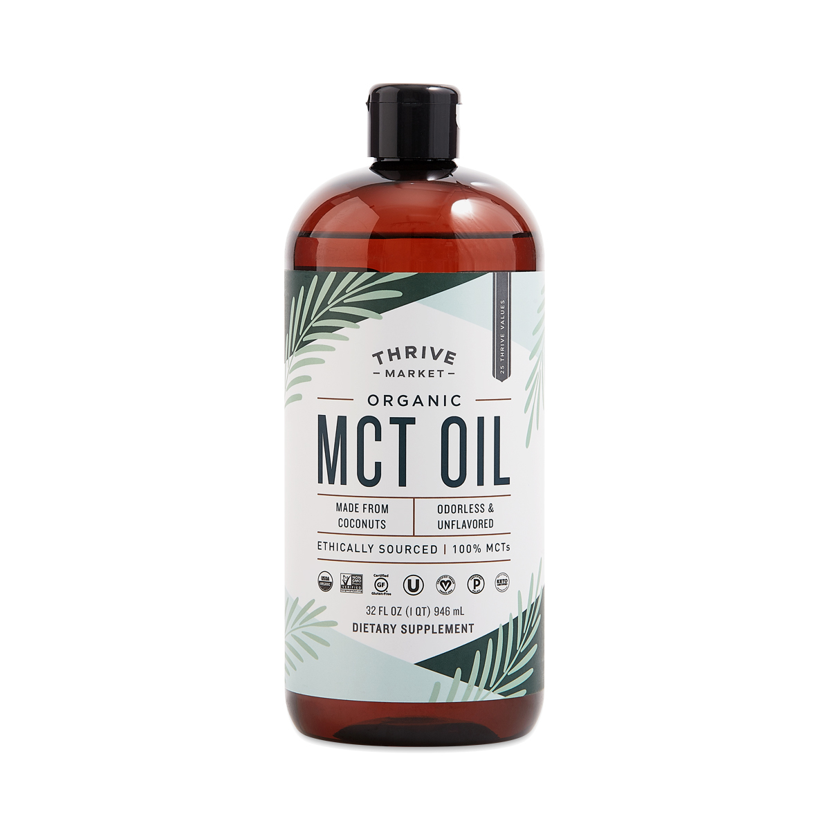 Thrive Market Organic MCT Oil 32 oz plastic bottle