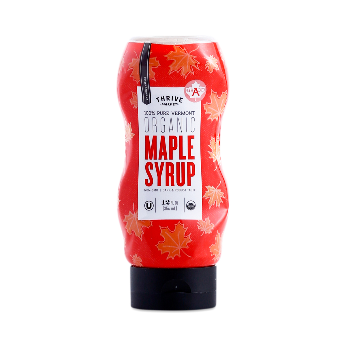 Thrive Market Organic Maple Syrup, Grade A 12 oz squeeze bottle