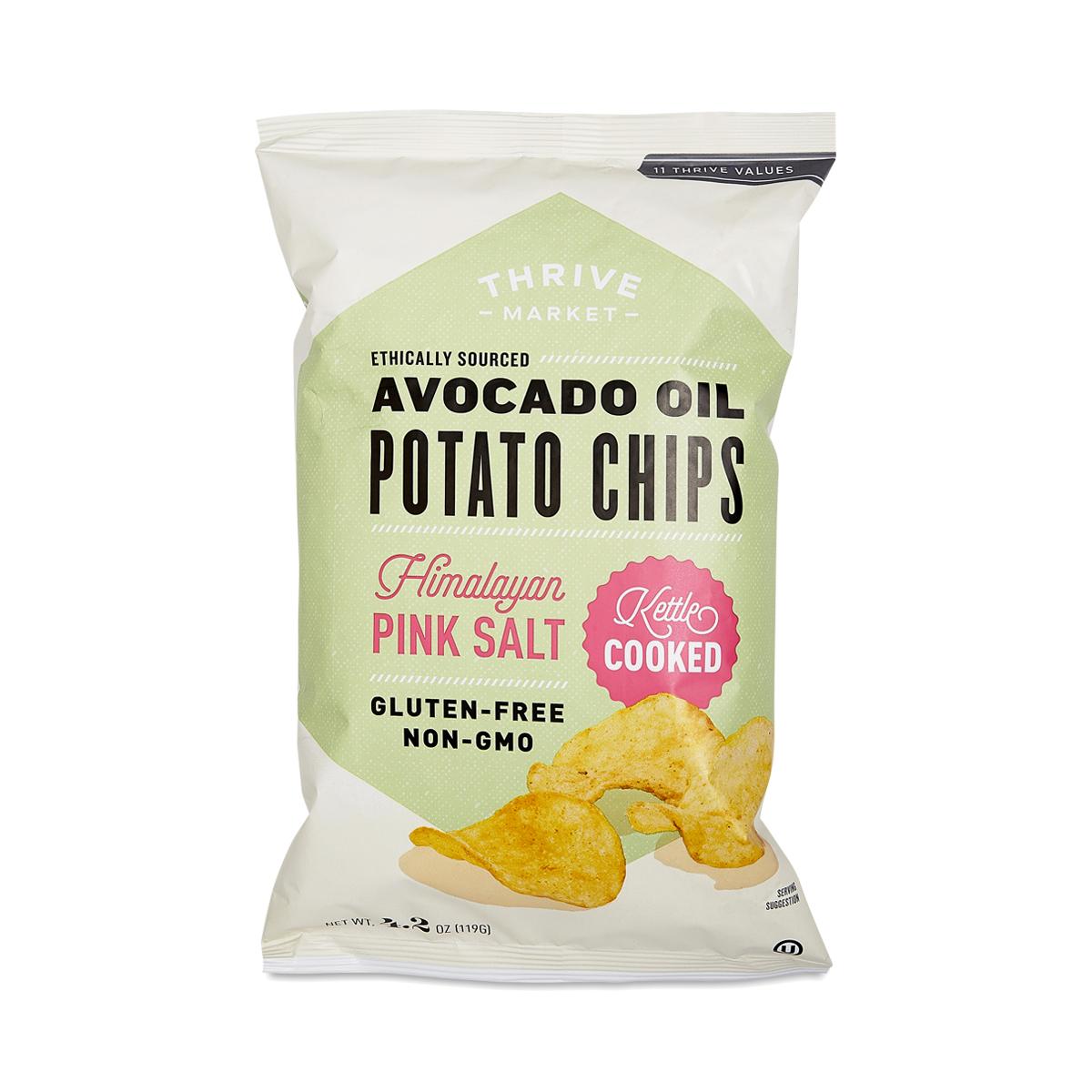 Thrive Market Non-GMO Avocado Oil Potato Chips, Himalayan Salt 4.2 oz bag