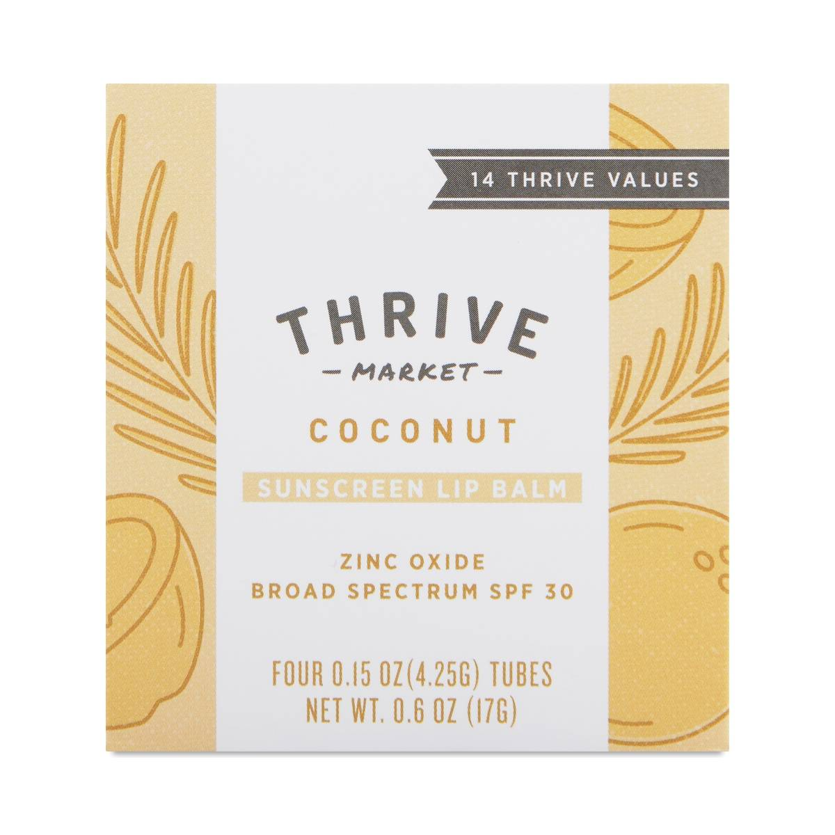 Coconut Lip Balm SPF 30 Zinc Oxide - 4 pack - Thrive Market