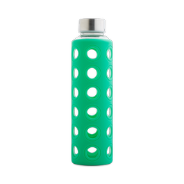 Glass Bottle with Green Silicone Sleeve 20 oz