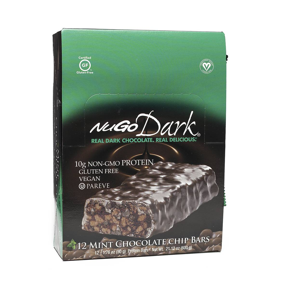 Dark Mint Chocolate Chip Protein Bars by NuGo - Thrive Market