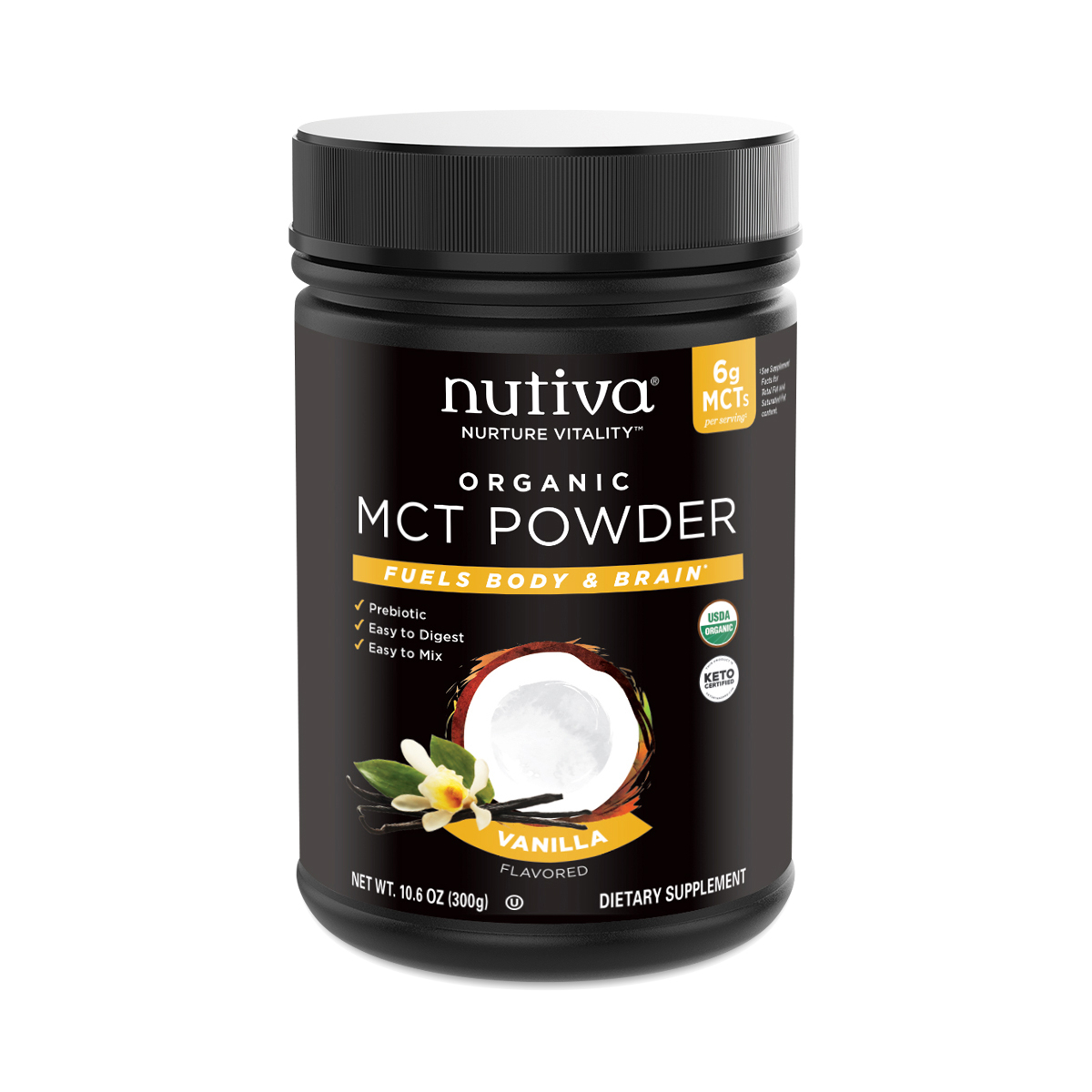 What is MCT Oil Used For - Nutiva Organic MCT Powder, Vanilla 10.6 oz container