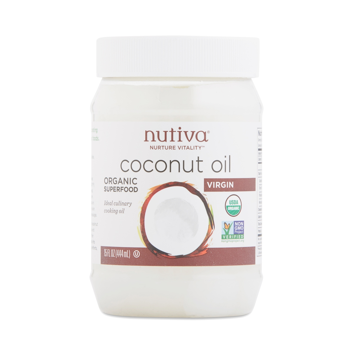 Nutiva Organic Virgin Coconut Oil 15 fl oz jar