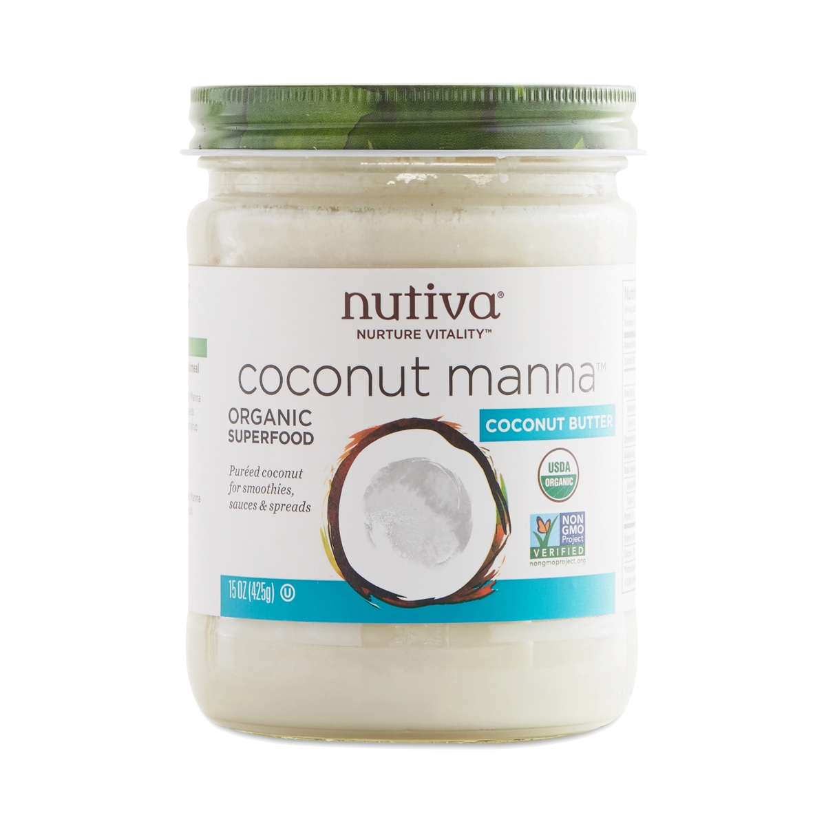 Nutiva Organic Coconut Manna 15 oz jar