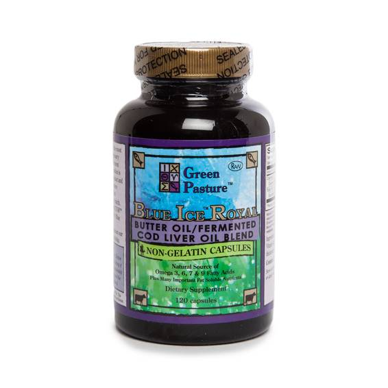 Blue Ice Royal Butter Oil / Fermented Cod Liver Oil Blend - Non-Gelatin Capsules