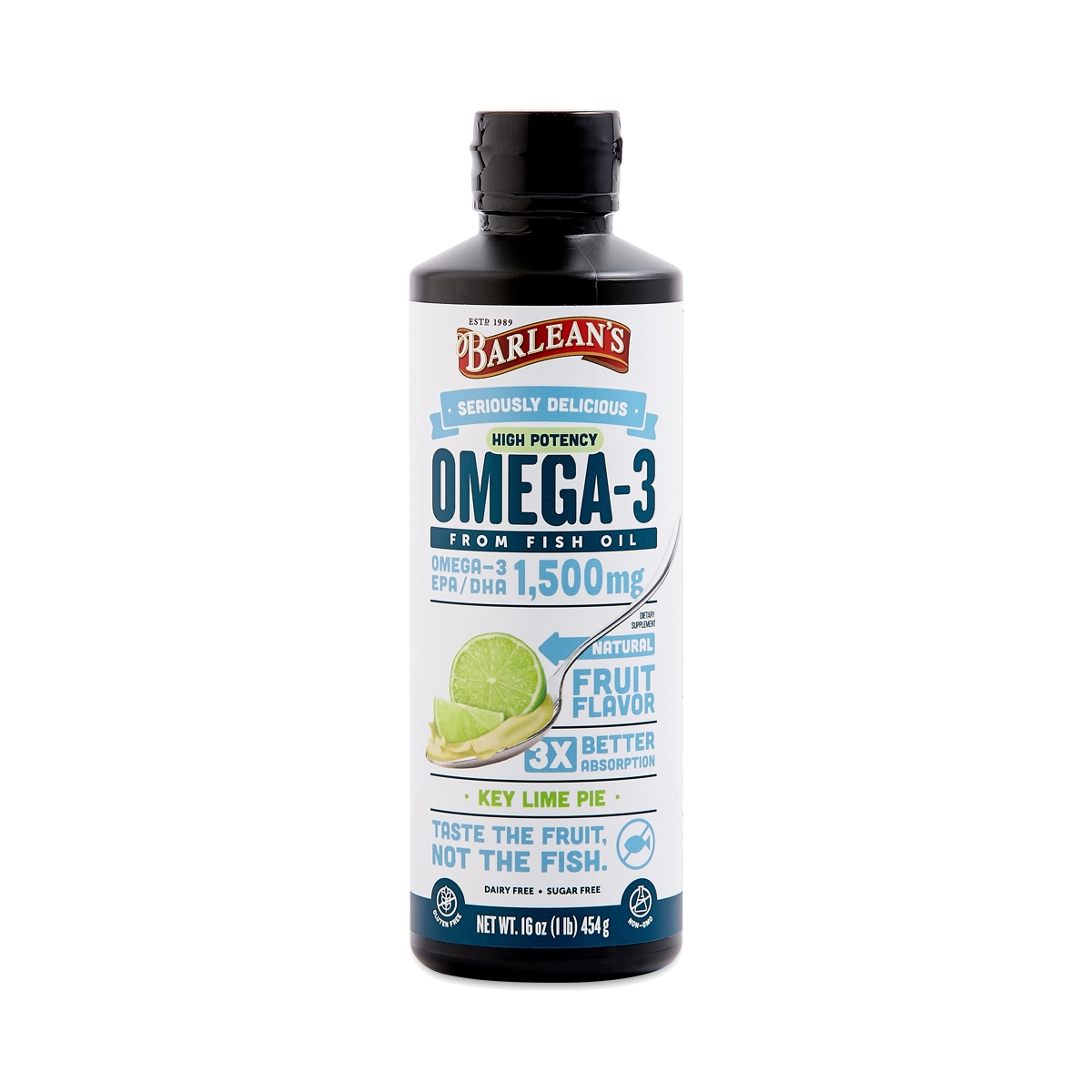 Barlean's Ultra High Potency Omega Swirl Fish Oil, Key Lime Pie 16 oz bottle