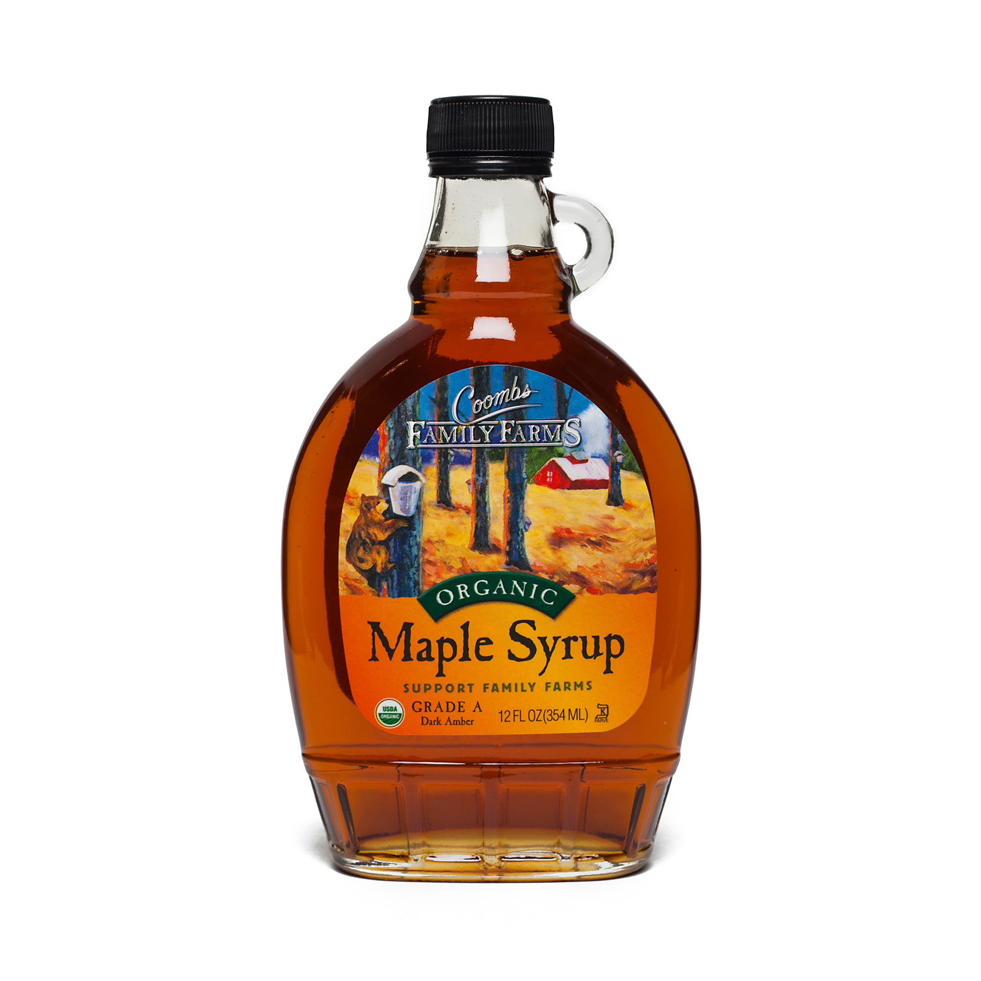 Coombs Organic Maple Syrup Grade A Dark Amber 12 oz bottle