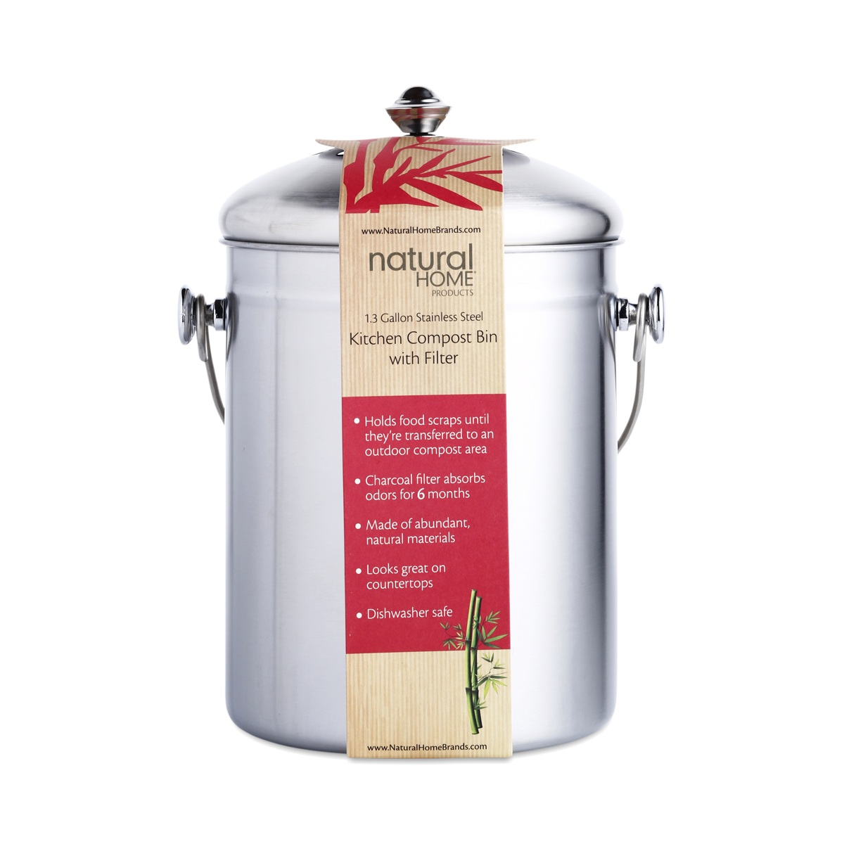 Stainless Steel Compost Bin by Natural Home - Thrive Market