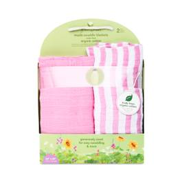 Muslin Swaddle Blankets, Pink, 2-Pack