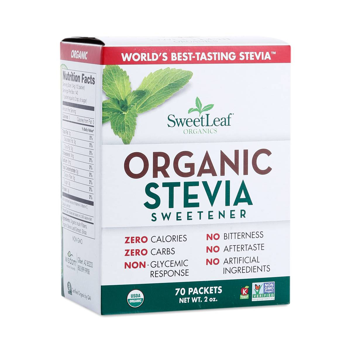 70 Count Organic Stevia Packets By Sweetleaf Thrive Market