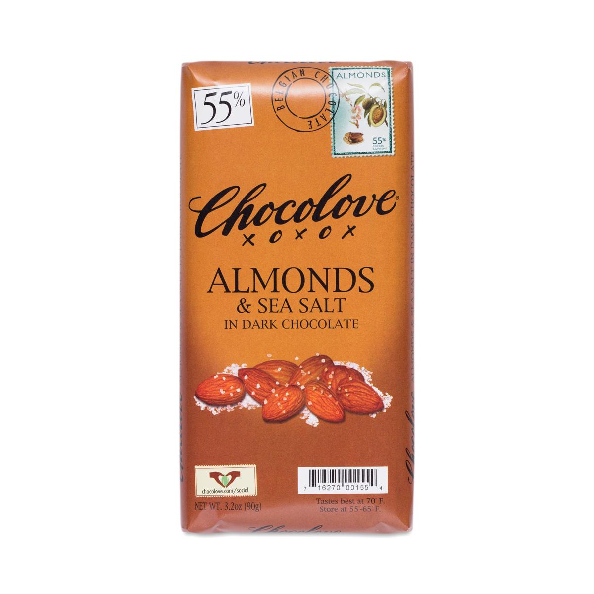 Almonds & Sea Salt Dark Chocolate Bar, 55% Cocoa - Thrive Market