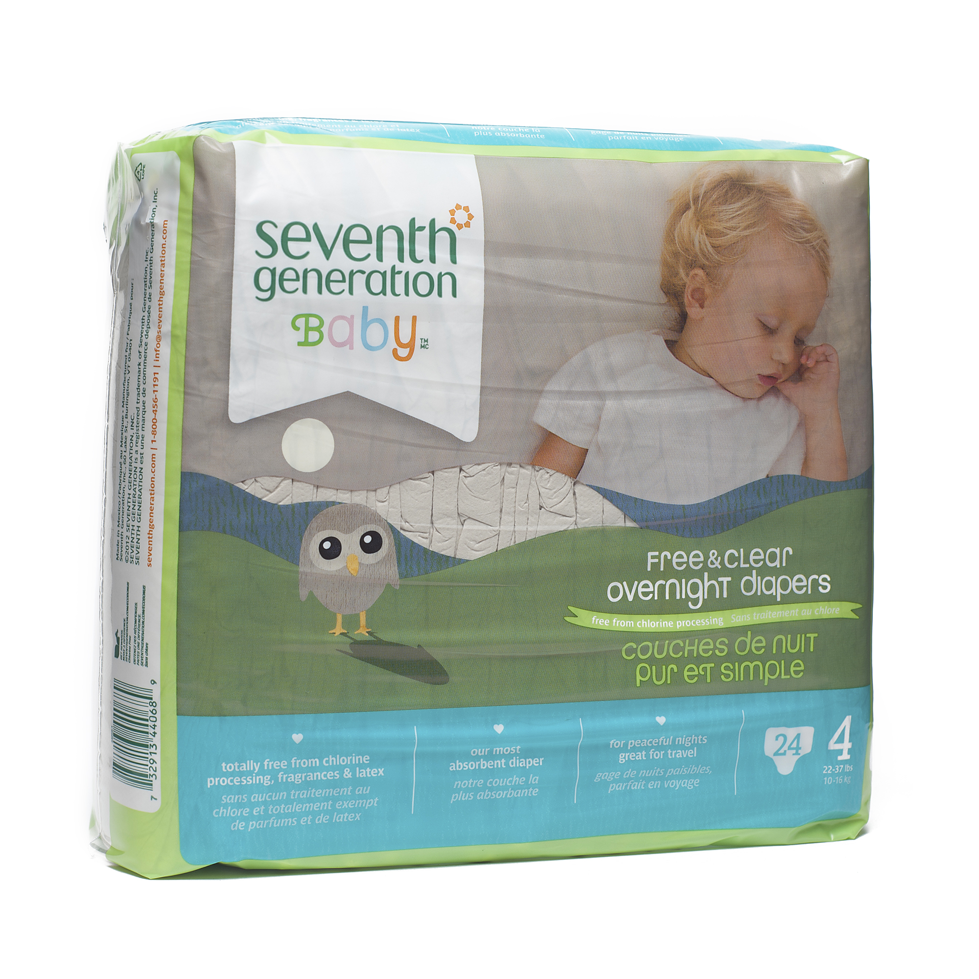 Seventh Generation Baby Overnight Diapers Stage 4 -- 24 Diapers