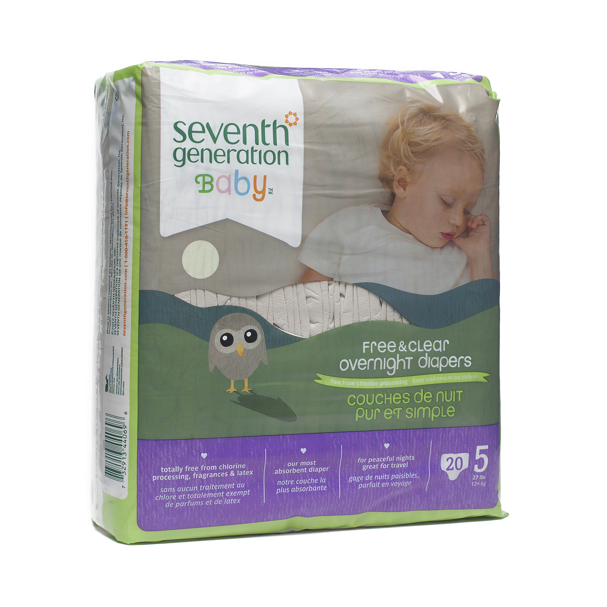 Seventh Generation Baby Overnight Diapers, Pack of 4 (Choose Your Size)