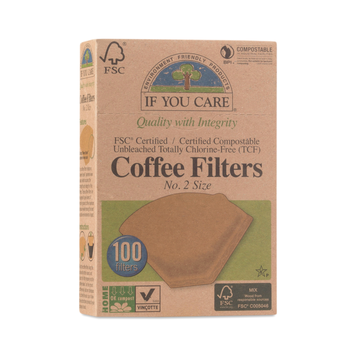 IF YOU CARE Compostable Certified Coffee Filters, #2 Cone