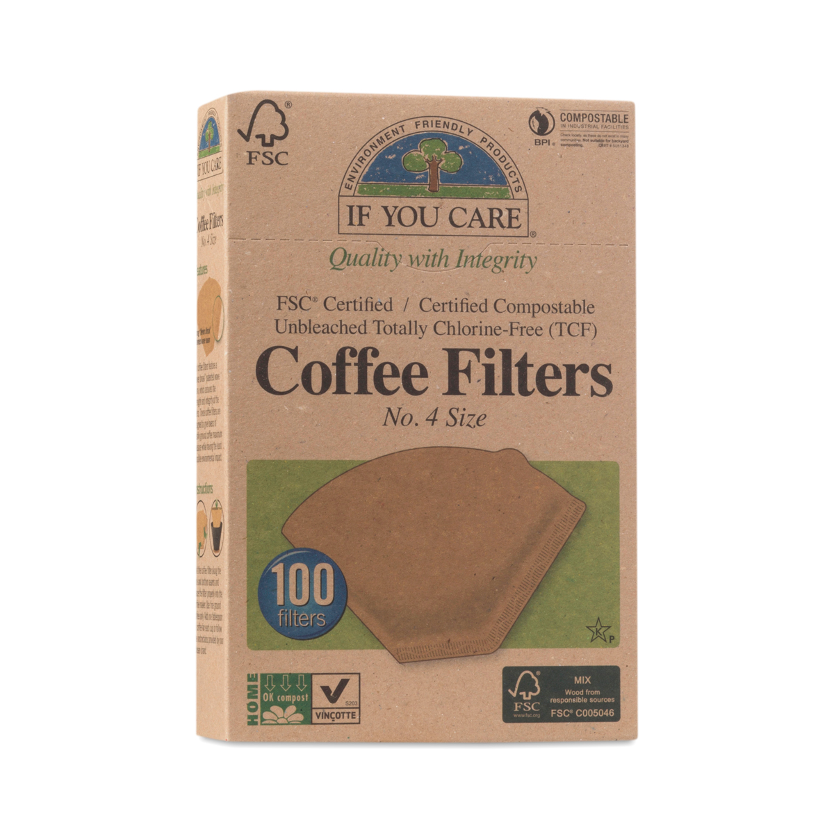 IF YOU CARE Compostable Certified Coffee Filters, #4 Cone