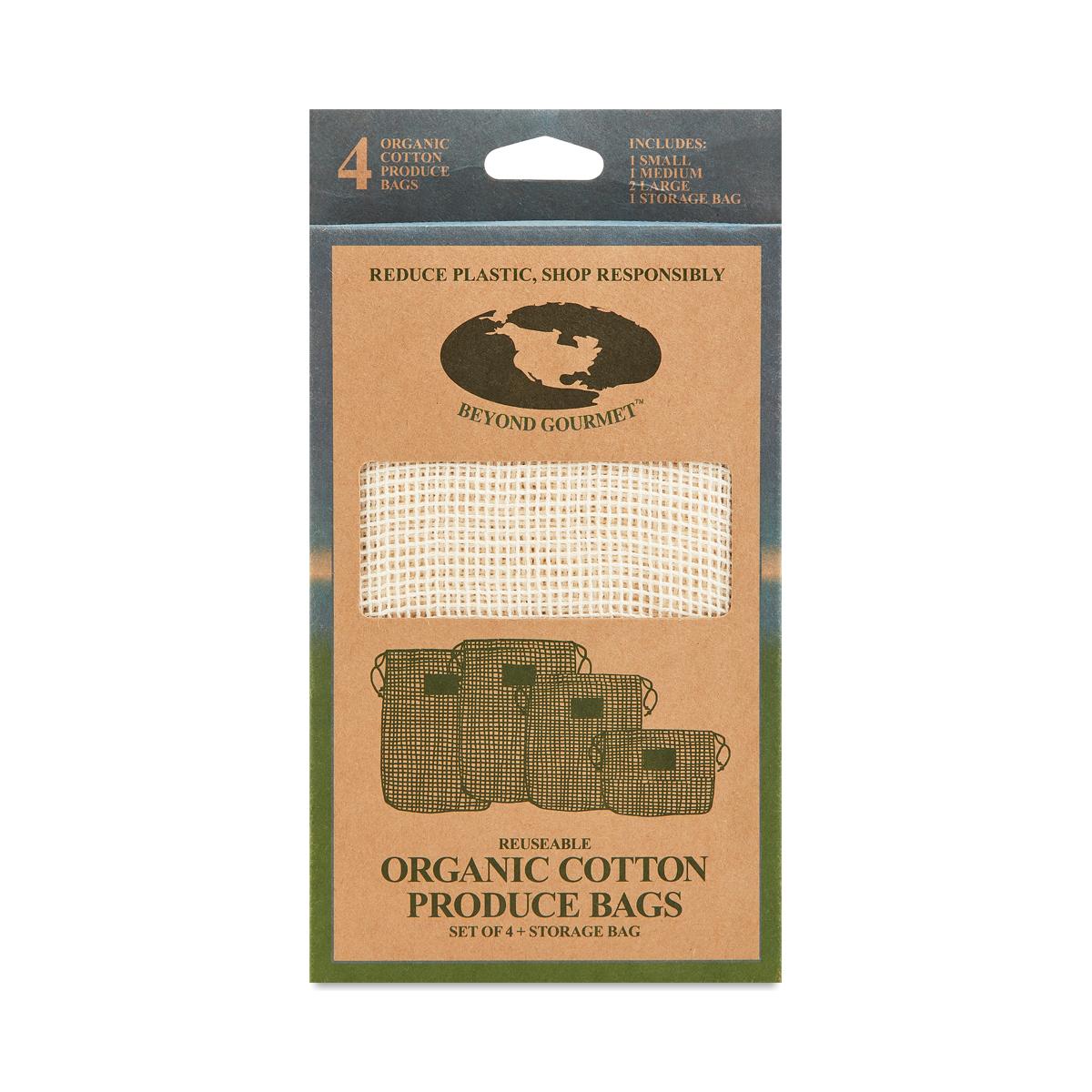 Reusable Organic Cotton Produce Bags 4 bags