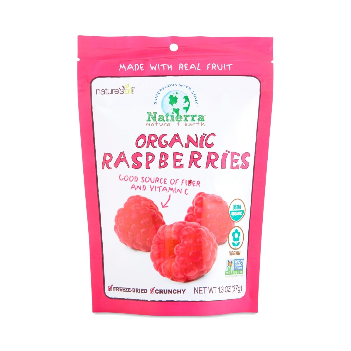 Natierra Organic Freeze Dried Raspberries 1.3 oz pouch